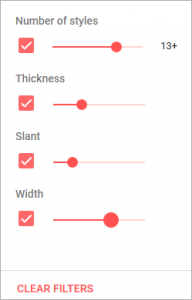 Google Fonts 並び替えのオプション指定の画像2(選択時)