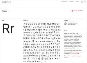 フォントの詳細表示のページの画像