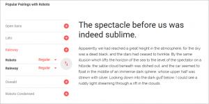 フォントの詳細表示のページの画像(良く使用される他のフォントとの組み合わせの表示例)