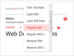 フォントの持つ他のスタイル(ウェイトや傾斜)を選択するオプションの表示