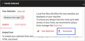 フォントのダウンロードの際に表示されるメッセージ